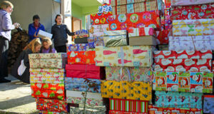 Shoeboxes being sorted
