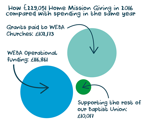 circle graph showing the proportion of HM giving used for the Association, for grants, and for national support