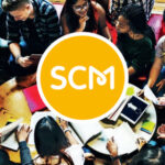SCM logo and image of students