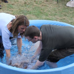 One of the girls being baptised