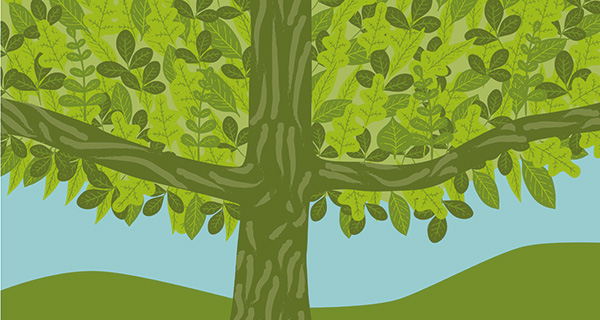 Green tree and hills design
