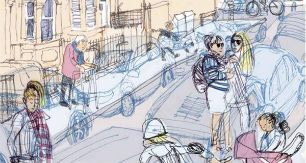 illustration of street with cars and pedestrians